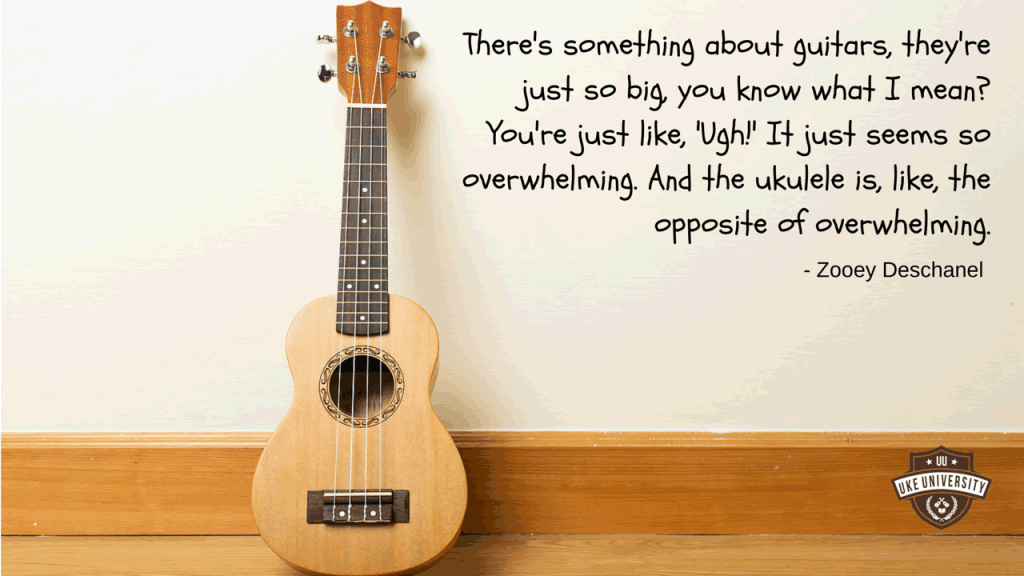 zooey deschanel quote on guitars being overwhelming but ukuleles are great
