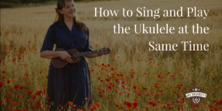 a woman playing the ukulele in a field with the title how to sing and play the ukulele at the same time